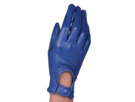 Rękawiczki damskie samochodowe -  PUCCINI D-1511 niebieskie całuski kropeczki